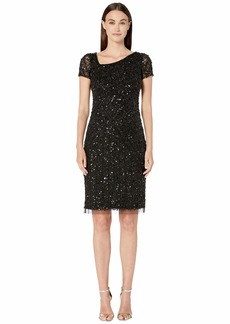 Adrianna Papell Beaded Cocktail Dress with Asymmetrical Neckline