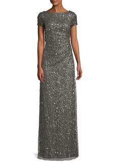 Adrianna Papell Beaded Cowl-Back Short-Sleeve Gown