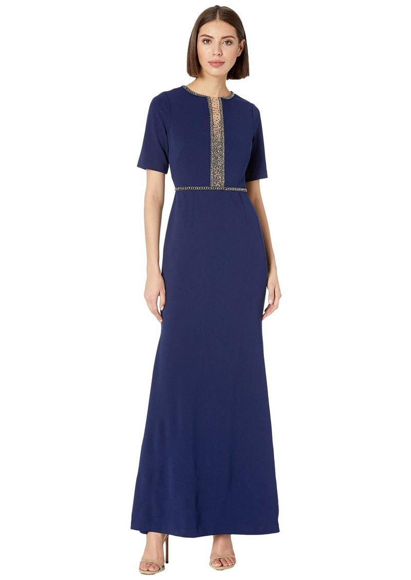 Adrianna Papell Beaded Crepe Mermaid Evening Gown