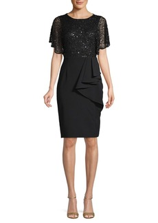 Adrianna Papell Beaded Crepe Sheath Dress