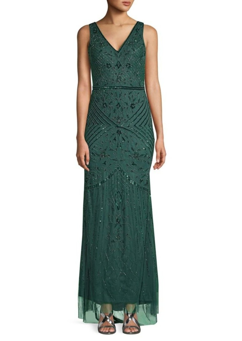 Adrianna Papell Beaded Deep V-Back Gown