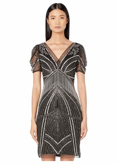 Adrianna Papell Beaded Dress with Puff Elbow Sleeves