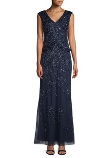 Adrianna Papell Beaded Floor-Length Dress