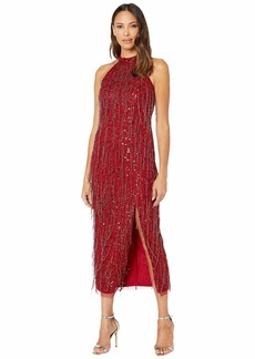 Adrianna Papell Beaded Halter Ballet Midi Dress with Fringe