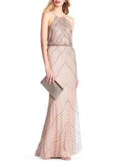 Adrianna Papell Beaded Halter-Neck Blouson Evening Gown