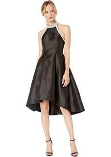 Adrianna Papell Beaded Hi-Low Halter Dress