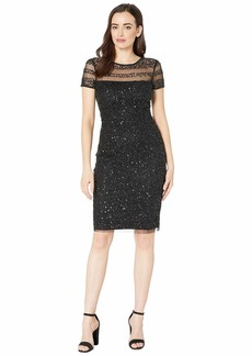 Adrianna Papell Beaded Illusion Cocktail Dress