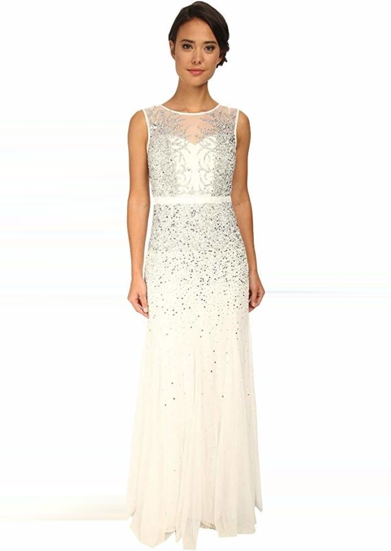 Adrianna Papell Beaded Illusion Gown (Prom)   Dresses