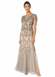 Adrianna Papell Beaded Long Dress with Short Sleeves and Godets