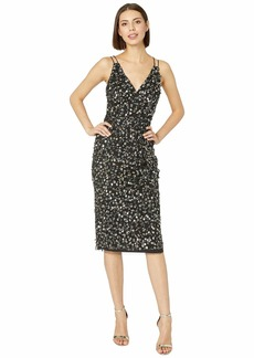 Adrianna Papell Beaded Mesh V-Neck Cocktail Dress