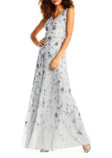 Beaded-Mesh V-Neck Evening Gown