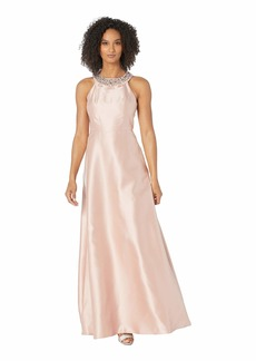 Adrianna Papell Beaded Neckline Mikado Halter Fit and Flare Gown