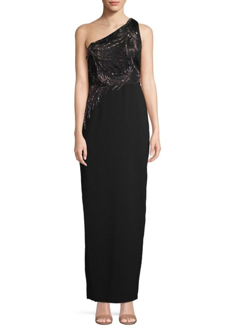 Adrianna Papell Beaded One-Shoulder Long Dress