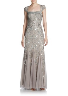 Adrianna Papell Beaded Portrait-Collar Gown