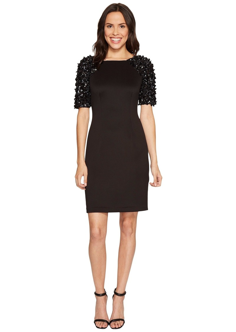 Adrianna Papell Beaded Sleeve Cocktail Dress