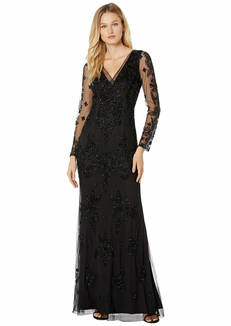 Adrianna Papell Beaded Swirl Evening Gown with Illusion Sleeve