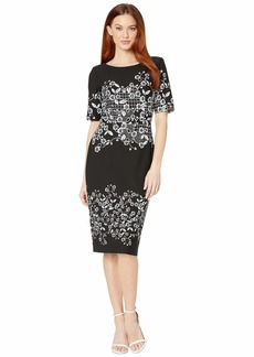 Adrianna Papell Blooming Trellis Printed Knit Crepe Sheath Dress