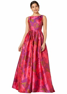 Adrianna Papell Boat Neckline Floral Jacquard Ball Gown with Long Pleated Full Skirt