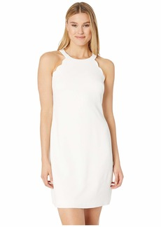 Adrianna Papell Cameron Textured Woven Scalloped Halter A-Line Dress