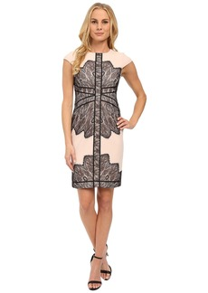 Adrianna Papell Cap Sleeve Dress with Contrast Lace Overlay