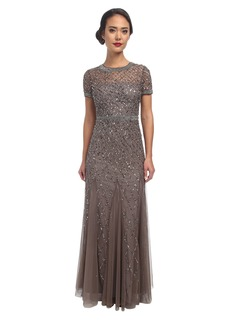 Adrianna Papell Cap Sleeve Fully Beaded Gown