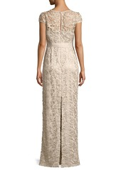 Adrianna Papell Cap-Sleeve Lace Illusion Gown