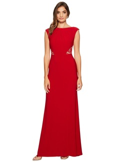 Adrianna Papell Cap Sleeve Long Gown with Lace Illusion Waist Detail