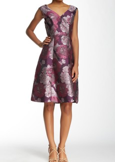 Adrianna Papell Cap Sleeve V-Neck Floral Jacquard Flare Dress
