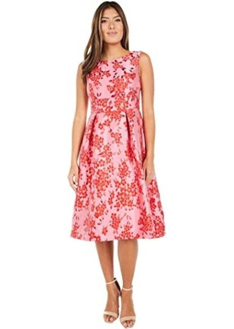 Adrianna Papell Cherry Blossom Jacquard Midi Dress