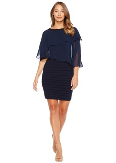 Adrianna Papell Chiffon Cape Matte Jersey Sheath Dress
