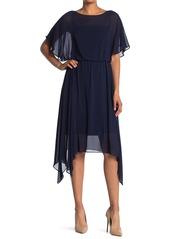 Adrianna Papell Chiffon Popover Asymmetrical Hem Dress