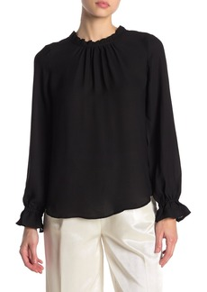 Adrianna Papell Clip Dot Pleated Neck Blouse