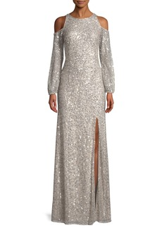 Adrianna Papell Cold-Shoulder Beaded Evening Gown