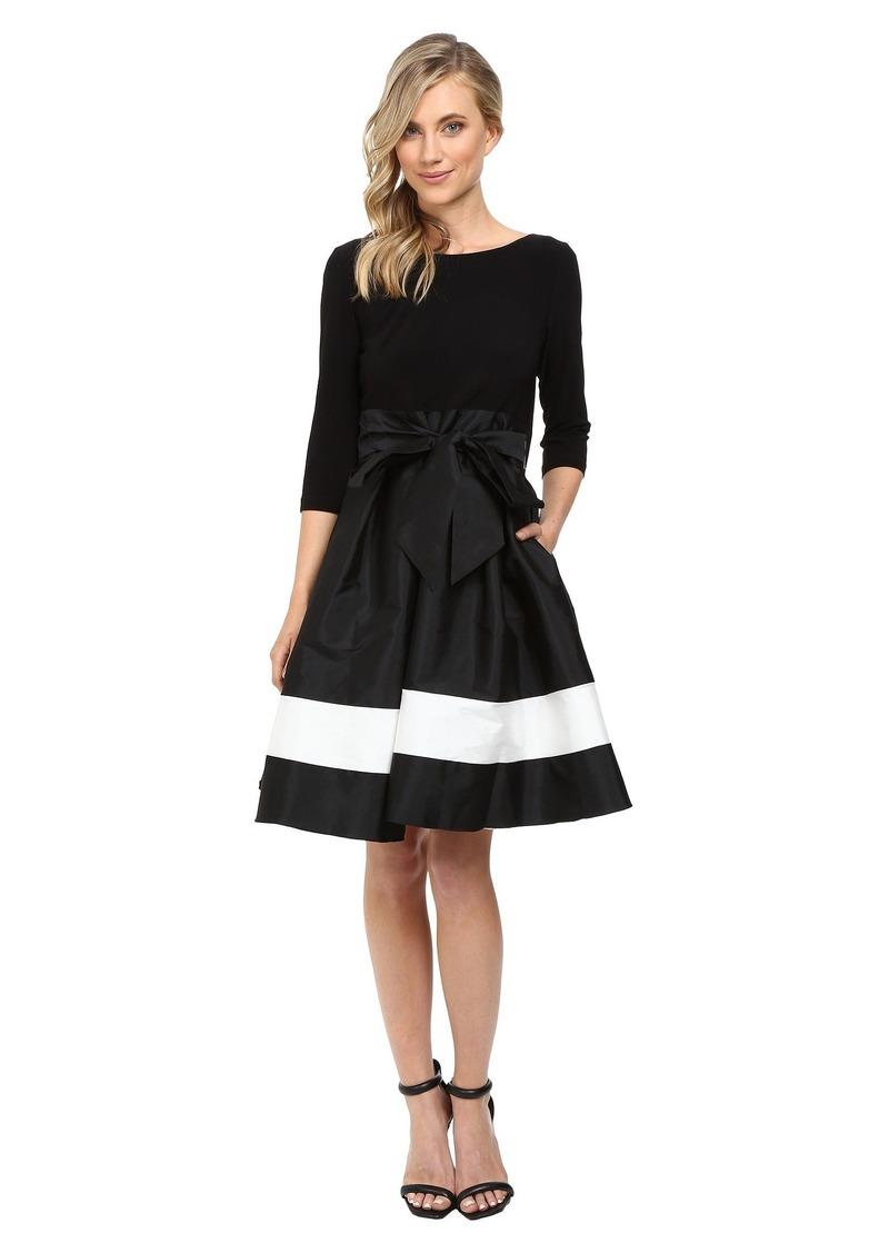 Adrianna Papell Color Blocked Taffeta Flared Skirt Dress