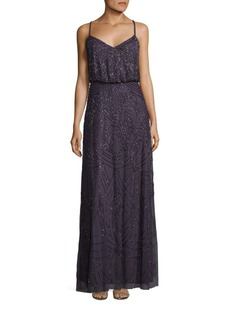 Adrianna Papell Crisscross Back Sequined Blouson Gown