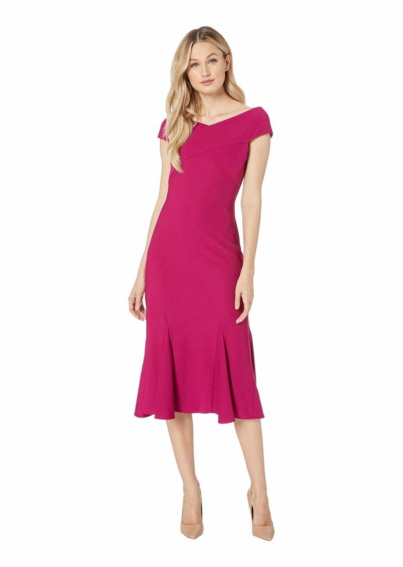Adrianna Papell Daphne Ottoman Midi Flounce Dress