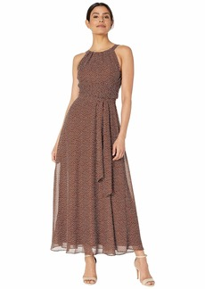 Adrianna Papell Darling Dot Halter Maxi Dress