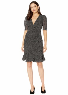 Adrianna Papell Darling Dot Printed Dress with Shirring Details