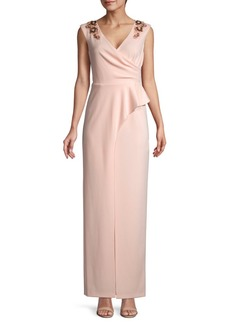 Adrianna Papell Draped Floral Embellished Dress