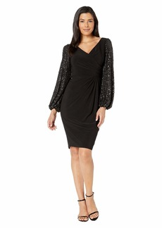 Adrianna Papell Draped Jersey Dress with Sequin Sleeves