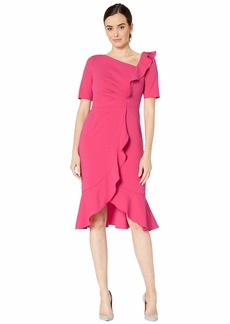 Adrianna Papell Draped Short Crepe Dress with Elbow Sleeves