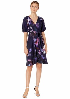 Adrianna Papell Dreamy Hibiscus Wrap Dress