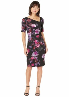 Adrianna Papell Elbow Sleeve Watercolor Lillies Sheath Dress