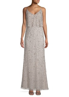 Adrianna Papell Embellished Popver A-Line Gown
