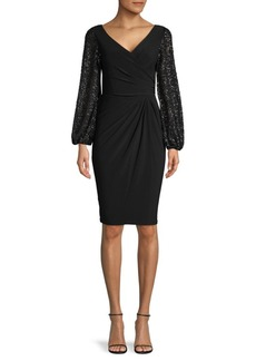 Adrianna Papell Embellished Balloon-Sleeve Sheath Dress