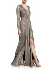 Adrianna Papell Embellished Foiled Jersey Gown