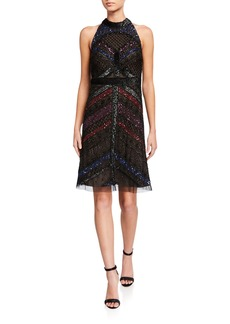 Adrianna Papell Embellished Halter Dress