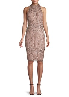 Adrianna Papell Embellished Halterneck Sheath Dress