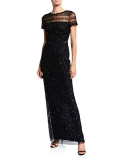 Adrianna Papell Embellished Illusion Column Gown