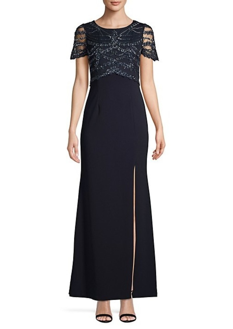 Adrianna Papell Embellished Mesh-Sleeve Gown